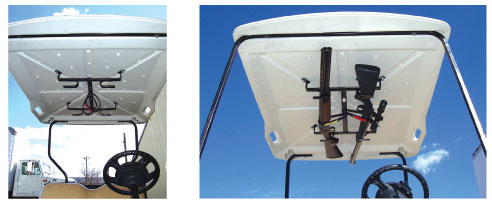 It Mounts Easily In The Roof Of Your Golf Cart And Guns Are Held Securely  In Place By Two Color Coded Nylon Straps. Plus, The Rack Is Completely  Rubber ...