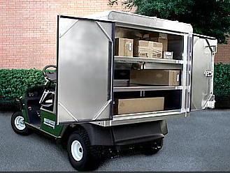 EZGO Van Box Golf Cart Van on delivery cart, gem food truck cart, street cart, van pool, pushing grocery cart, crazy cart,